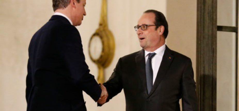 Hollande (D) et Cameron après leur réunion à l'Elysée le 15 février 2016 à Paris  © AFP MATTHIEU ALEXANDRE
