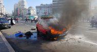 Un petit taxi prend feu à Casablanca