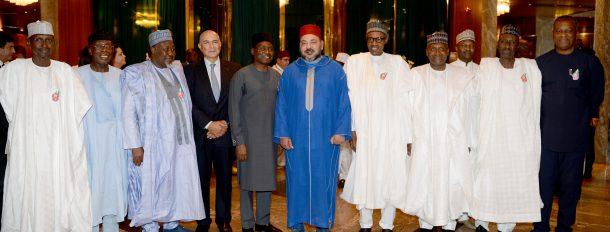 SM le Roi et le Président nigérian président la cérémonie de lancement d'un partenariat et de signature de conventions