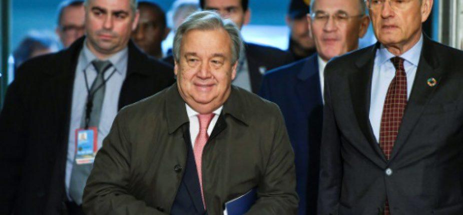 Le nouveau patron de l'ONU, Antonio Guterres arrive pour des pourparlers sur la réunification de Chypre à Genève, le 12 janvier 2017  © AFP Philippe DESMAZES