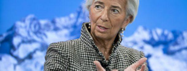 La directrice générale du FMI, Christine Lagarde, lors d'un débat au World Economic Forum (WEF), le 18 janvier 2017 à Davos  © AFP FABRICE COFFRINI