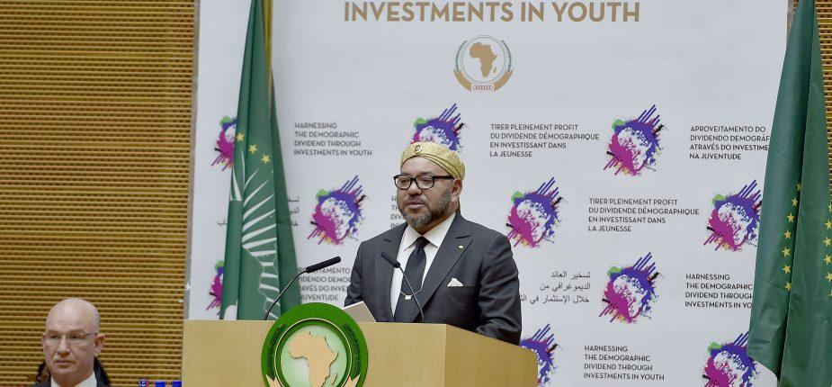 Le Roi Mohammed VI prononce un discours devant le 28ème sommet de l'Union africaine (UA) à Addis-Abeba.