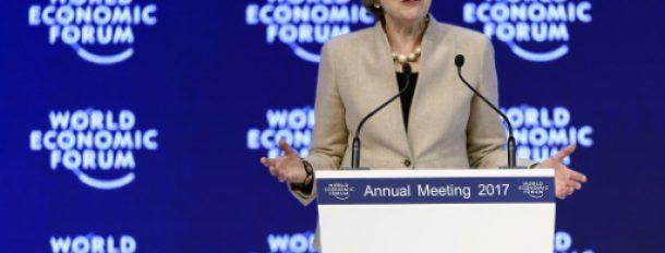 La Première ministre britannique, Theresa May, au forum économique mondial de Davos (WEF), le 19 janvier 2017 à Davos  © AFP FABRICE COFFRINI