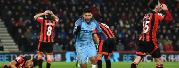 L'attaquant de Manchester City Sergio Agüero après un but contre Bournemouth, le 13 février 2017  © AFP Glyn KIRK