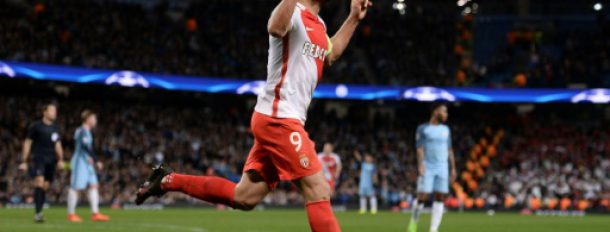 L'attaquant de Monaco Radamel Falcao, auteur d'un doublé face à Manchester City en Ligue des champions à l'Etihad Stadium, le 21 février 2017  © AFP Oli SCARFF