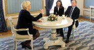 Le président russe Vladimir Poutine reçoit au Kremlin la candidat d'extrême droite à la présidentielle française Marine Le Pen, le 24 mars 2017  © SPUTNIK/AFP Mikhail KLIMENTYEV