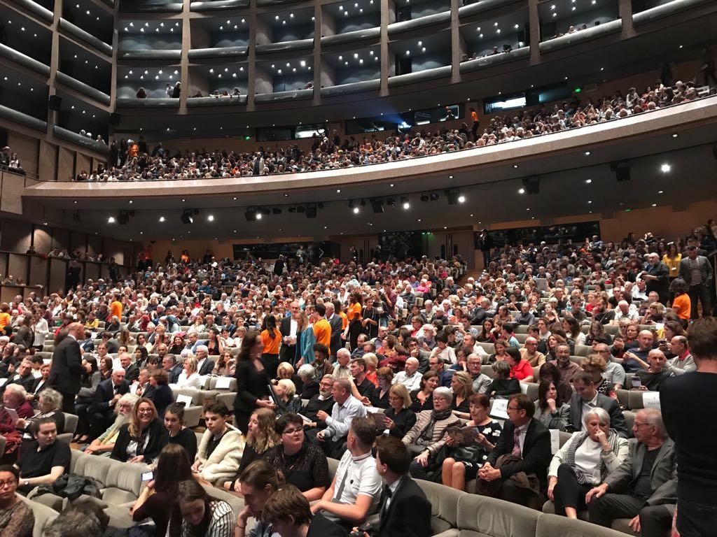 La salle de l'Opéra Berlioz lors de la projection de Razzia